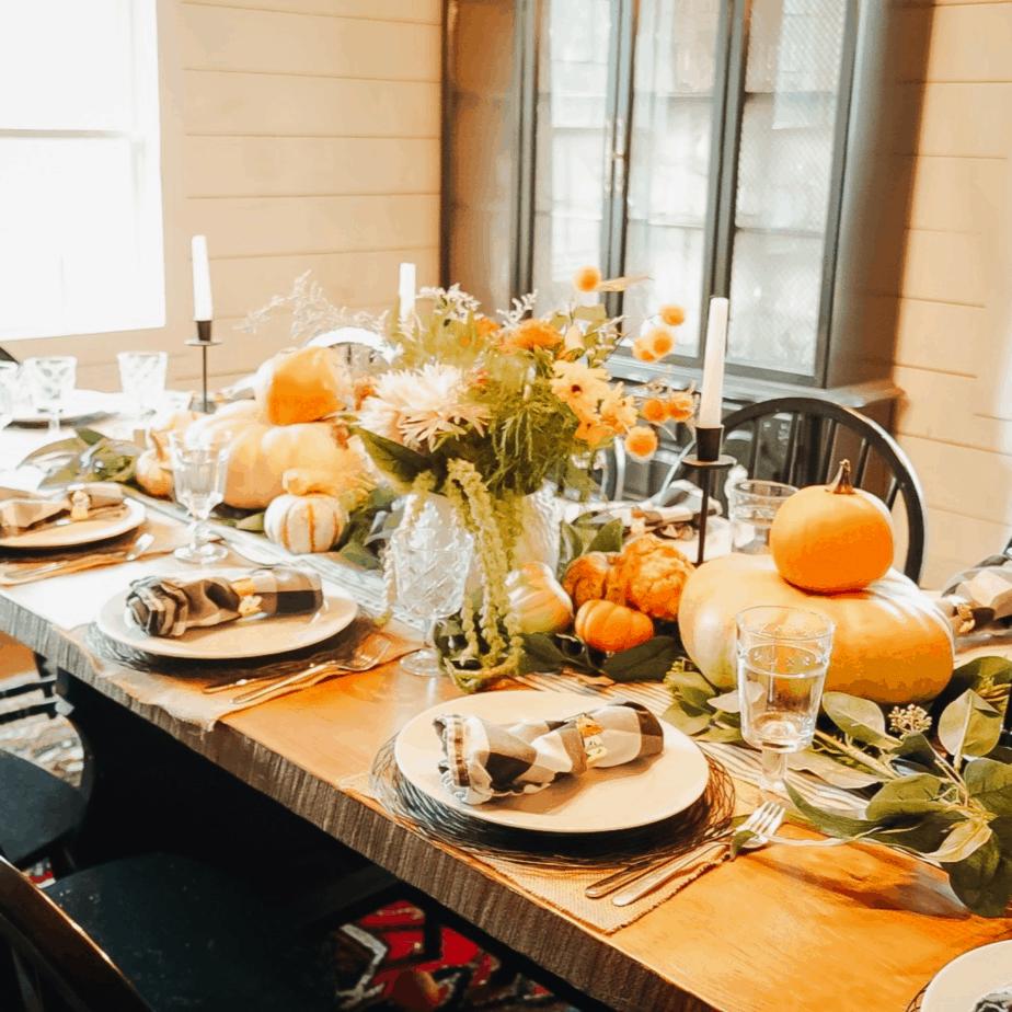 pumpkins on dining room table