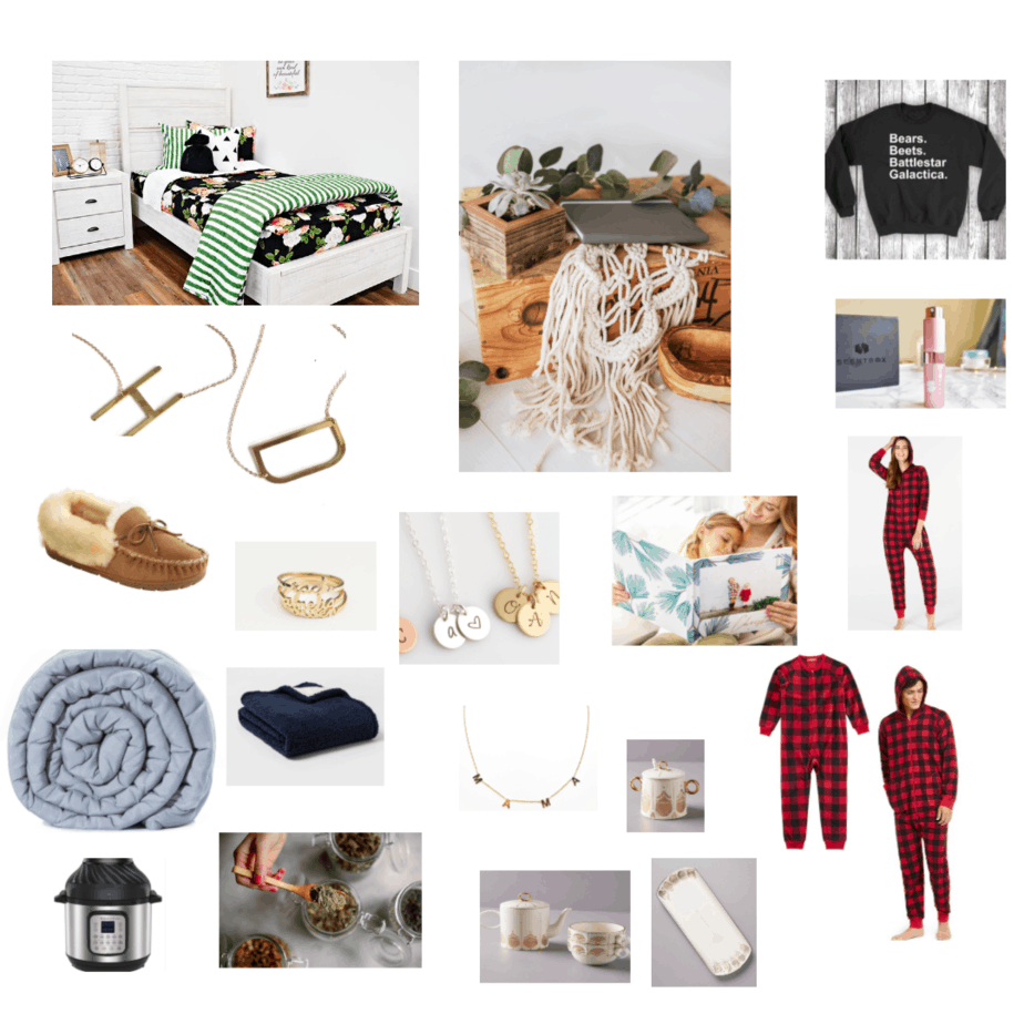 bedding, slippers, necklace, pajamas
