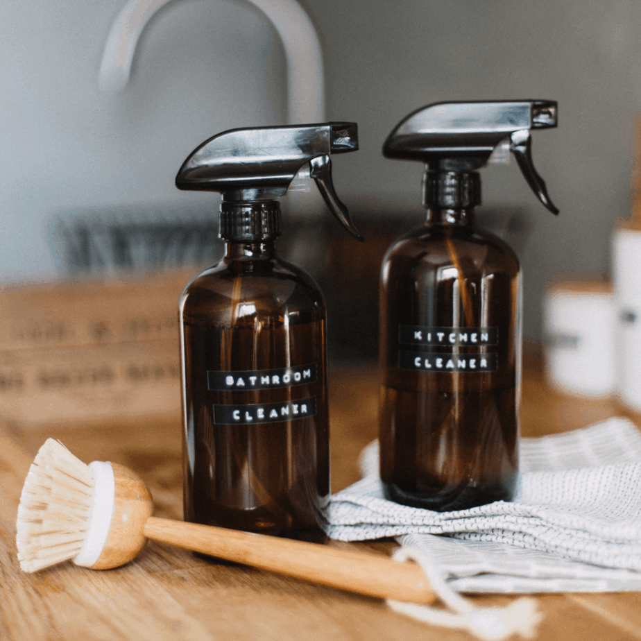two homemade cbrown cleaning solution bottles