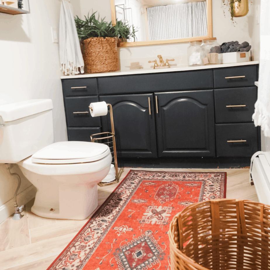 red rug and a blue bathroom vanity