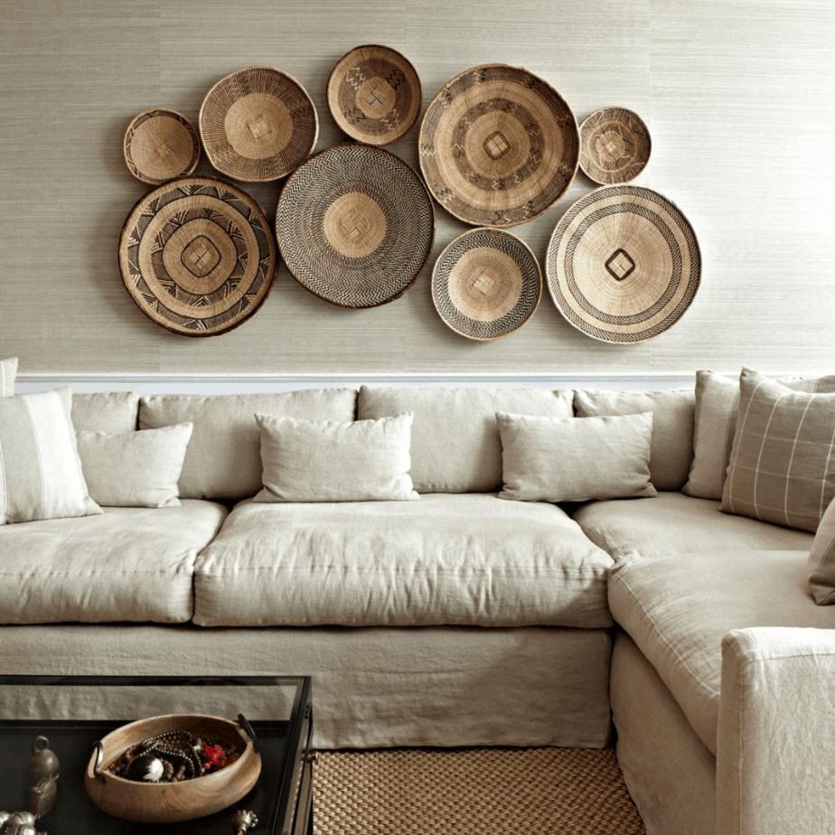 basket wall over linen sectional sofa