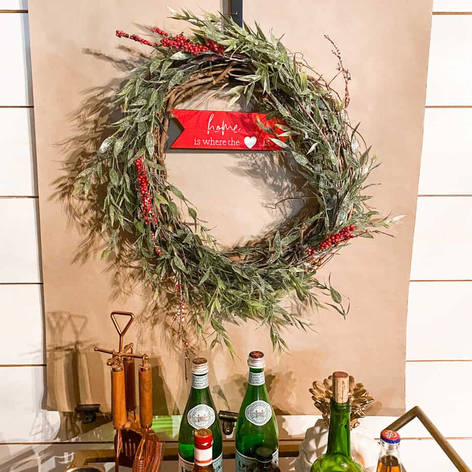 How to make a Valentines day wreath with leftover Christmas Decor, bar cart, butcher paper, and wreath