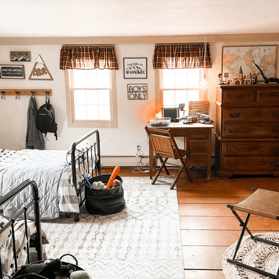 boys bedroom, red valances, desk and wooden dresser
